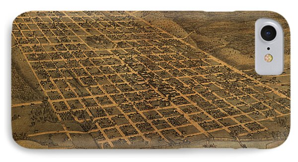 Vintage Austin Texas In 1873 City Map On Worn Canvas IPhone Case by Design Turnpike
