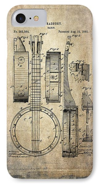 Vintage Banjo Patent Drawing IPhone Case by Maria Angelica Maira