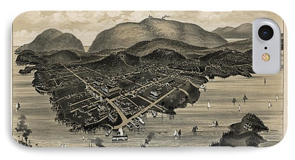 Vintage Bar Harbor Map IPhone Case
