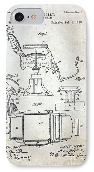 Vintage Barber Chair Patent IPhone Case by Paul Ward