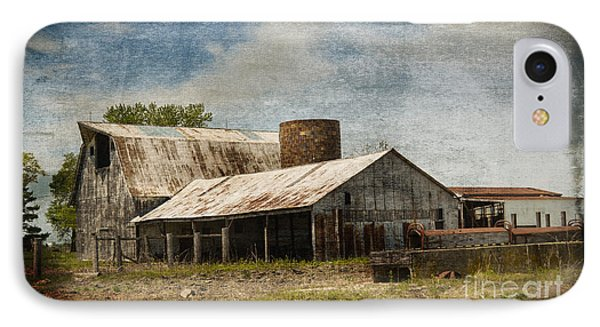 Barn -vintage Barn With Brick Silo - Luther Fine Art IPhone Case by Luther Fine Art