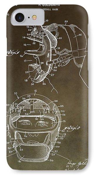 Vintage Baseball Mask Patent IPhone Case
