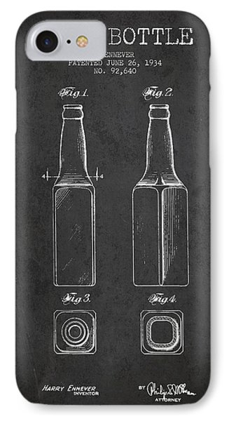 Vintage Beer Bottle Patent Drawing From 1934 - Dark IPhone Case by Aged Pixel
