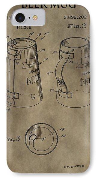 Vintage Beer Mug Patent IPhone Case by Dan Sproul
