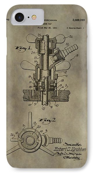 Vintage Beer Tap Patent IPhone Case by Dan Sproul