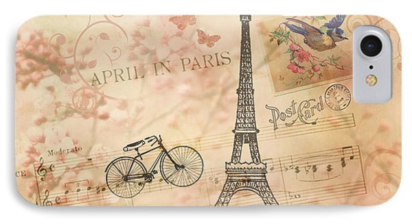 Vintage Bicycle And Eiffel Tower IPhone Case