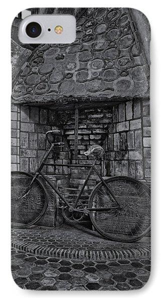 Vintage Bicycle Bw IPhone Case by Susan Candelario