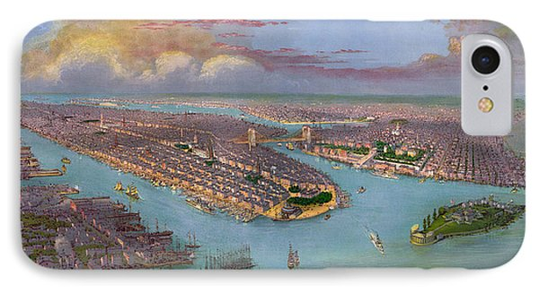Vintage Bird's Eye View Of New York City - Circa 1885 Phone Case by Blue Monocle