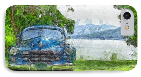Vintage Blue Caddy At Lake George New York Phone Case by Edward Fielding
