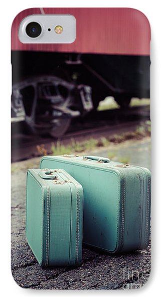Vintage Blue Suitcases With Red Caboose IPhone Case by Edward Fielding