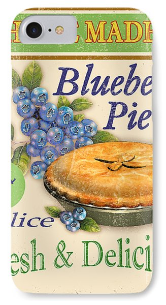 Vintage Blueberry Pie Sign IPhone Case by Jean Plout