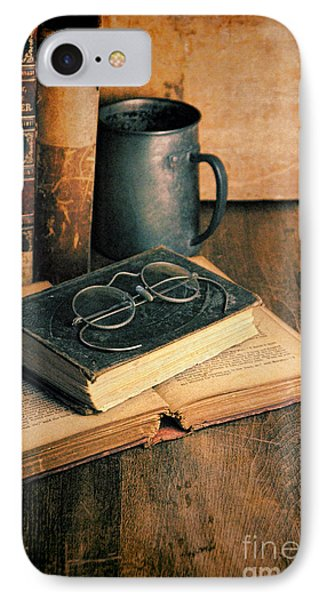 Vintage Books And Eyeglasses IPhone Case by Jill Battaglia