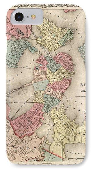 Vintage Boston Map 2 IPhone Case by Joann Vitali