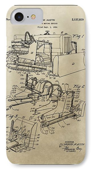 Vintage Bulldozer Patent IPhone Case by Dan Sproul