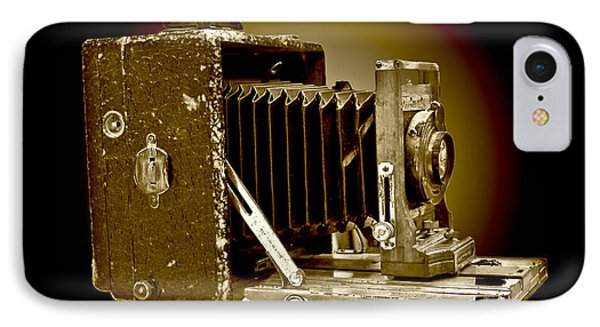 Vintage Camera In Sepia Tones IPhone Case by Carol F Austin
