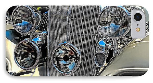 Vintage Car Art Buick Grill And Headlight Hdr IPhone Case by Lesa Fine