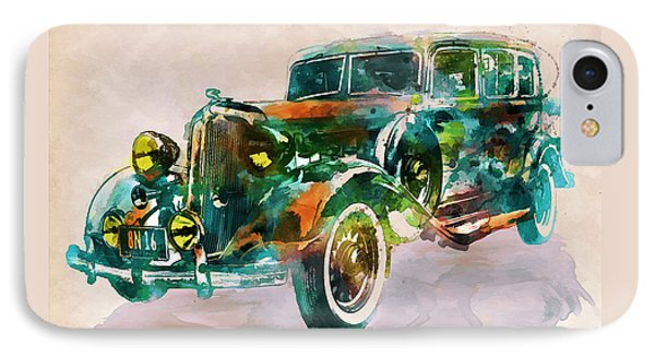 Vintage Car In Watercolor IPhone Case by Marian Voicu