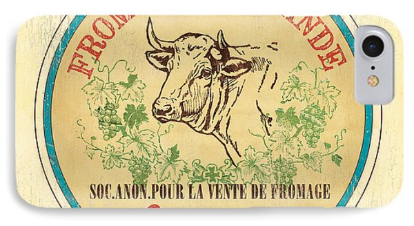 Cow iPhone 7 Case - Vintage Cheese Label 1 by Debbie DeWitt