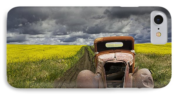 Vintage Chevy Pickup On A Dirt Path Through A Canola Field IPhone Case