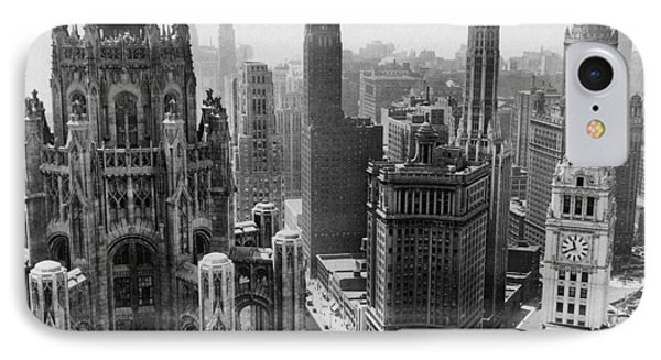 Chicago iPhone 7 Case - Vintage Chicago Skyline by Horsch Gallery