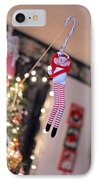 IPhone Case featuring the photograph Vintage Christmas Elf Zipline by Barbara West