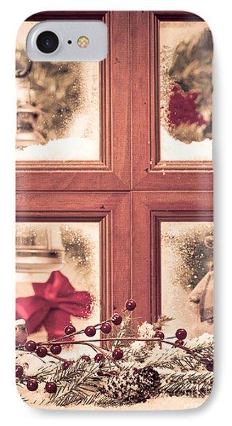 Vintage Christmas Window IPhone Case by Amanda Elwell