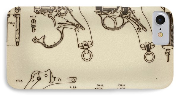 Vintage Colt Revolver Drawing Phone Case by Nenad Cerovic