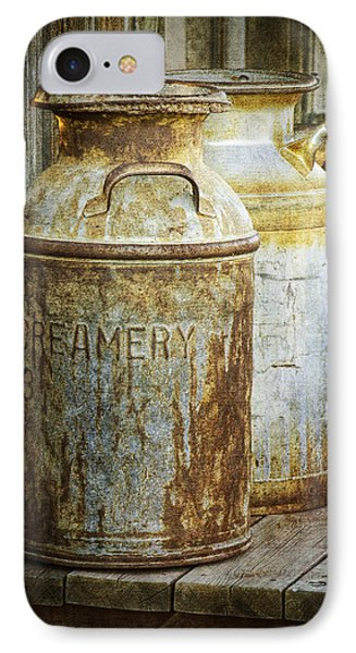 Vintage Creamery Cans In 1880 Town In South Dakota IPhone Case by Randall Nyhof