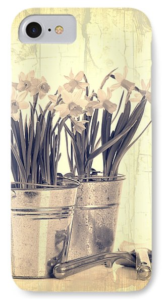 Vintage Daffodils IPhone Case by Amanda Elwell