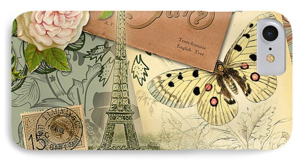 Vintage Eiffel Tower Paris France Collage IPhone Case by Mary Hubley