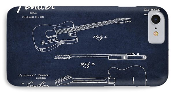 Vintage Fender Guitar Patent Drawing From 1951 IPhone Case by Aged Pixel