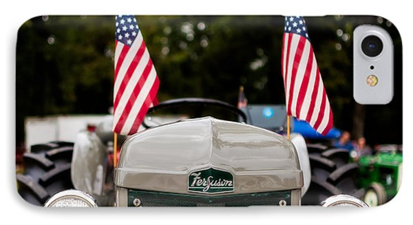 Vintage Ferguson Tractor With American Flags IPhone Case by Jon Woodhams