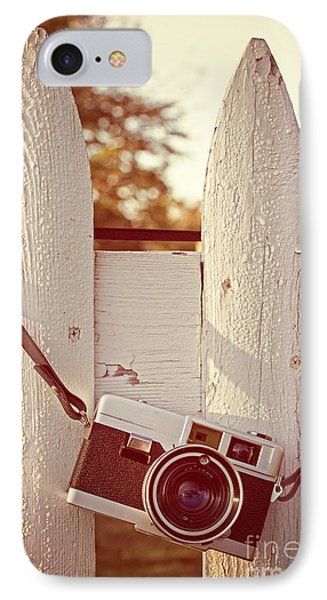 Vintage Film Camera On Picket Fence Phone Case by Edward Fielding