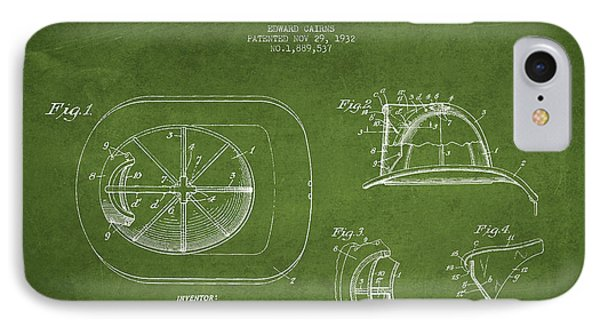 Vintage Firefighter Helmet Patent Drawing From 1932 - Green IPhone Case