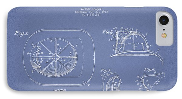 Vintage Firefighter Helmet Patent Drawing From 1932 - Light Blue IPhone Case by Aged Pixel