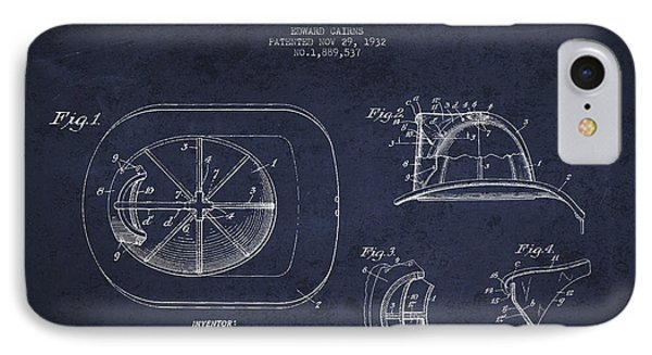 Vintage Firefighter Helmet Patent Drawing From 1932 - Navy Blue IPhone Case by Aged Pixel
