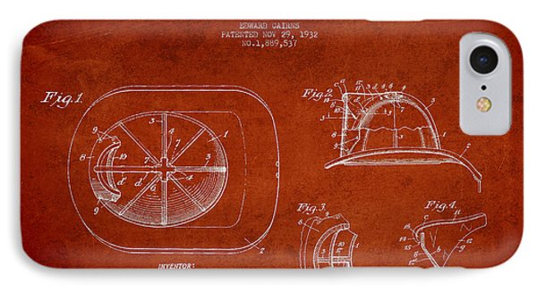 Vintage Firefighter Helmet Patent Drawing From 1932-red IPhone Case by Aged Pixel