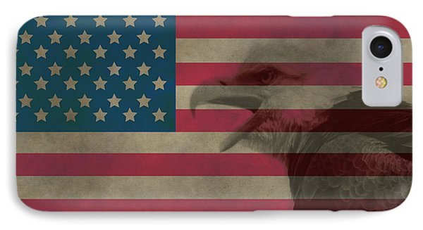 Vintage Flag With Bald Eagle IPhone Case by Dan Sproul