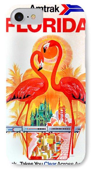 Vintage Florida Amtrak Travel Poster IPhone Case by Jon Neidert