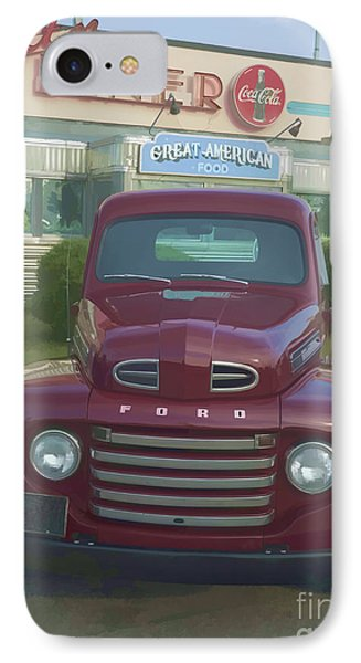Vintage Ford Truck Outside The Tiltn Diner IPhone Case by Edward Fielding