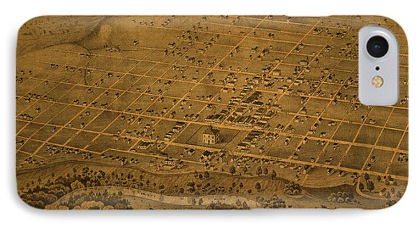 Vintage Fort Worth Texas In 1876 City Map On Worn Canvas IPhone Case