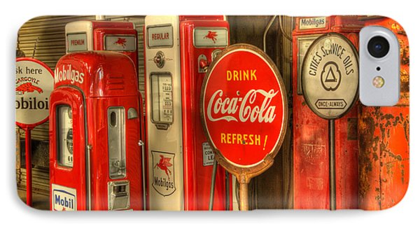 Vintage Gasoline Pumps With Coca Cola Sign Phone Case by Bob Christopher