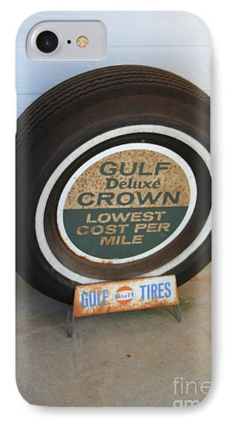 IPhone Case featuring the photograph Vintage Gulf Tire With Ad Plate by Lesa Fine
