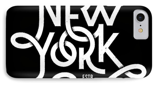 T Shirts iPhone 7 Case - Vintage Hand Lettered Textured New York by Tortuga
