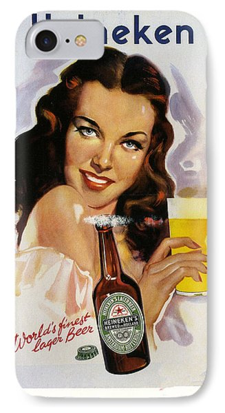 Vintage Heineken Beer Ad IPhone Case by Allen Beilschmidt