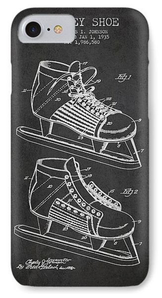 Vintage Hockey Shoe Patent Drawing From 1935 IPhone Case by Aged Pixel