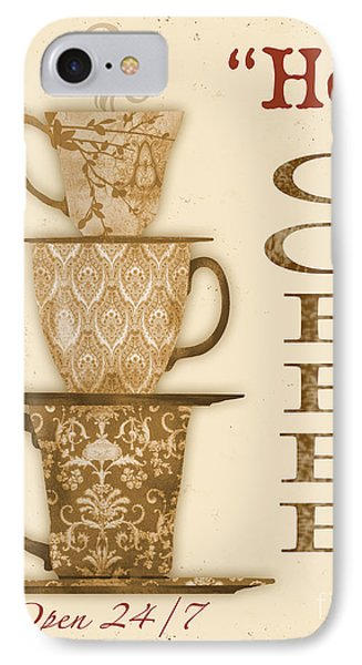 Vintage Hot Coffee Sign IPhone Case by Jean Plout
