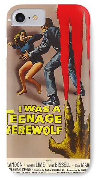 Vintage I Was A Teenage Werewolf Movie Poster IPhone Case by Mountain Dreams