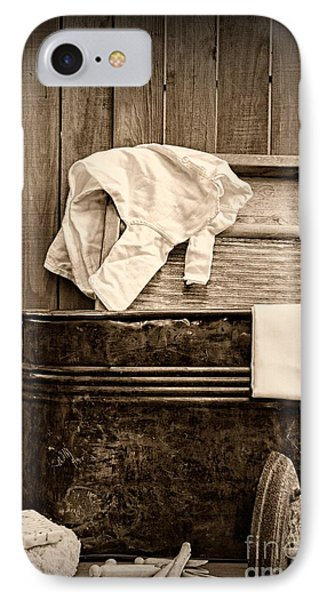 Vintage Laundry Room In Sepia	 IPhone Case by Paul Ward