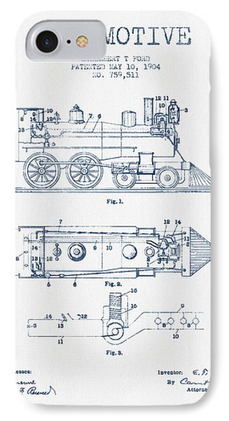 Vintage Locomotive Patent From 1904  -  Blue Ink IPhone Case